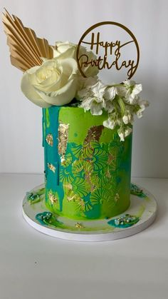 Cool Birthday Cakes, Happy Birthday, Teal Color Schemes, Damask Stencil, Cake Decorating Techniques, Cake Designs, Cookie Decorating, Cake Toppers, Sweet Tooth