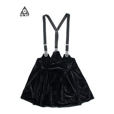 "50%OFF 【UNIF】サスペンダースカート""DROP OUT""/BLACK CATEGORY ($22) ❤ liked on Polyvore featuring skirts, bottoms and dresses"