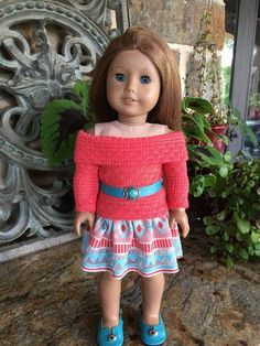 Items similar to 18 in doll clothes made to fit dolls like the American girl doll -knit top and skirt-teal belt-coral boots- coral shrug and off shoulder top on Etsy American Girl Crafts, American Doll Clothes, Girl Doll Clothes, Doll Clothes Patterns, Girl Dolls, American Dolls, Doll Patterns, Girl Clothing, Knitting Patterns