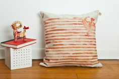 Coral orange striped cushion cover 50 x 50 Striped Cushions, Coral Orange, Throw Pillows, Trending Outfits, Bed, Cover, Abstract, Summary, Toss Pillows