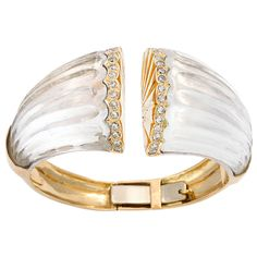 WANDER Hawaii Gold Rock Crystal and Diamond Bracelet . Circa 1980s