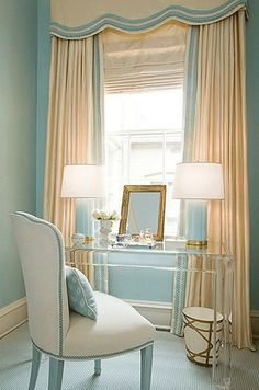 bedrooms - Acrylic lucite desk ivory window treatments blue lamps cornice box blue walls Kelley Interior Design via House of Turquoise Interior Design Blogs, Home Design, Design Ideas, Design Design, Design Room, Chair Design, Design Elements, Home Staging, Lucite Desk