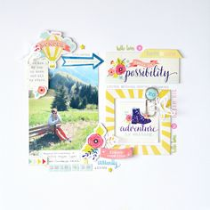 Adventure layout with Creative Retreat April Kit by Flóra Mónika Farkas Bridal Shower Scrapbook, Baby Scrapbook, Travel Scrapbook, Scrapbook Albums, Scrapbook Paper, Style Scrapbook, Scrapbook Sketches, Scrapbook Page Layouts, Love Wishes