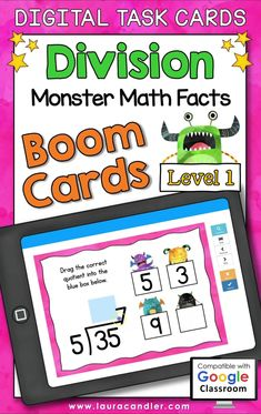 Division Monster Math Facts Level 1 digital self-checking Boom Cards are a fun way for students to develop fluency with basic division facts having divisors from 2 to 9.#BoomCards #DigitalTaskCards #DistanceLearning #division #divisionfacts #mathboomcards #mathfun #mathfactpractice Multiplication Facts, Math Facts, Teacher Hacks, Best Teacher, Active Engagement, Math Fact Practice, Engage In Learning, Math Division, Fun Math
