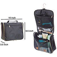 Jasby Hanging Toiletry Bag Black Organizer, Small Mirror For Men & Women | Durable Metal Golden Zippers, Roomy Compartments & Mesh Pockets | Cosmetics, Jewelry, Pills, Shaving Kits, Travel, Gym, Gift
