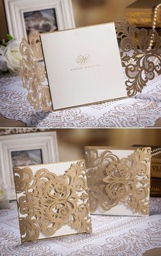 metallic gold laser cut pocket vintage wedding invitation cards #weddinginvitations #vintageweddingideas