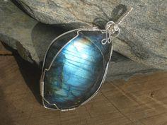 Blue Labradorite Swirl Pendant Sterling by Abundantearthworks, $42.00