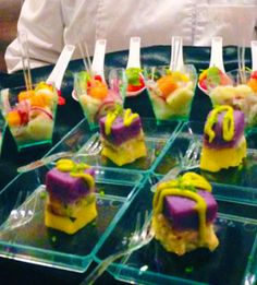 Individual fruit salads and mini cakes - wedding desserts - City Chef Catering