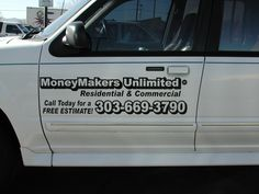 #vehiclegraphics #vehiclewraps #vehiclelettering #installationservices #vehiclegraphicsdesigns #SignaramaColorado #Signs #colorado cut black vinyl lettering for Money Makers Unlimited