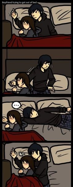 Couple Drawings | A boyfriend trying to get out of bed: