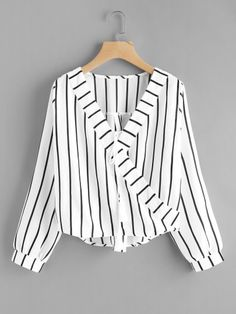 Shop Contrast Striped Surplice Neckline Tassel Tie Blouse at ROMWE, discover more fashion styles online. Romwe, Fashion News, Fashion Outfits, Fashion Trends, Ad Fashion, Fashion Boutique, Spring Shirts, Summer Blouses, Black And White Style