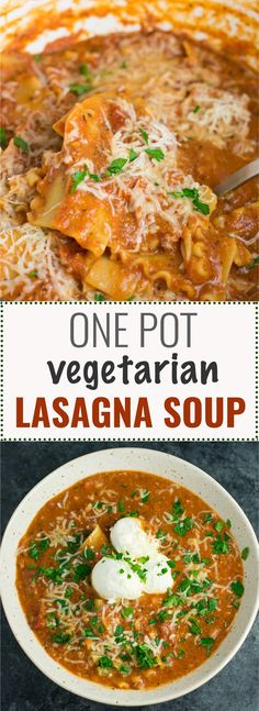 easy one pot lasagna soup recipe is a delicious vegetarian dinner that is ready in less than 30 minutes from start to finish!This easy one pot lasagna soup recipe is a delicious vegetarian dinner that is ready in less than 30 minutes from start to finish! One Pot Vegetarian, Vegetarian Dinners, Vegetarian Recipes, Vegetarian Lasagna Soup Recipe, Healthy Lasagna, Vegan Soup, Vegan Crockpot Lasagna, Meatless Lasagna, Zucchini Lasagna