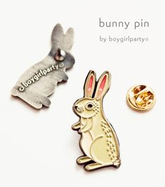 Rabbit Enamel Pin by boygirlparty http://shop.boygirlparty.com/collections/_new/products/bunny-pin-rabbit-pin-bunny-enamel-pin-by-boygirlparty?variant=19146643527