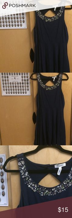 Navy Blue Skater Dress with Embellished Neckline 95% Cotton and 5% Spandex. No holes or stains. Aeropostale Dresses