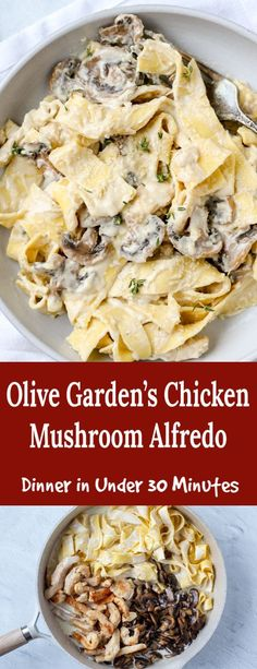 Classic Fettuccine Alfredo is always a family favorite. This Chicken Mushroom Fettuccine Alfredo is a perfect copycat of the Olive Garden's Chicken Mushroom Alfredo. It's so perfect, I cannot tell the difference. Easy Pasta Recipes, Chicken Recipes, Cooking Recipes, Healthy Recipes, Salad Recipes, Cooking Kale, Entree Recipes, Simple Recipes, Healthy Nutrition