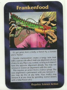 Frankenfood Illuminati CCG Assassins Plot Card 1995. Illuminati: New World Order (INWO) is a collectible card game (CCG) that was released in 1995[1] by Steve Jackson Games, based on their original boxed game Illuminati, which in turn was inspired by The Illuminatus! Trilogy. INWO won the Origins Award for Best Card Game in 1997.