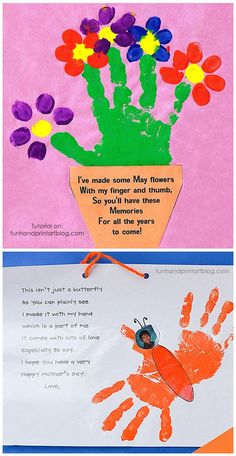 Mothers Day Handprint Tree And Finger Print Petals Gifts Mothers