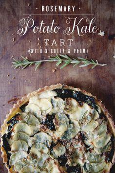 Rosemary Potato Kale Tart (with ricotta & parm)