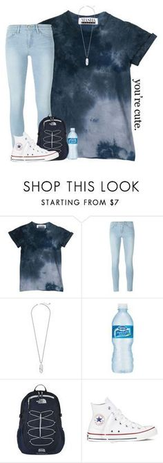 """yeah so I got in a wreck yesterday..."" by kreeves7 ❤ liked on Polyvore featuring Frame, Kendra Scott, The North Face and Converse"