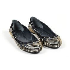 Pre-Owned Alexander Mcqueen $795 Black Leather Gold Tone Studded Flats... (320 SGD) ❤ liked on Polyvore featuring shoes, flats, black, black flats, studded ballet flats, ballet shoes, black ballet shoes and embellished ballet flats