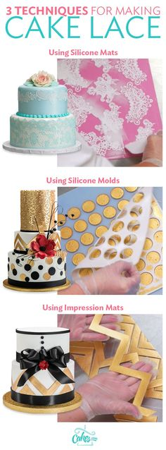 Cake lace is a versatile cake decorating medium. Learn how to use it with silicone mats, molds, and impression mats to enhance your next cake design.