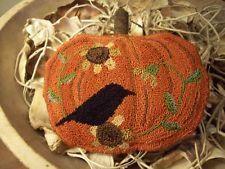 Primitive Punch Needle Hooked Rug Pumpkin Crow Sunflower Pillow Bowl Filler. current bid $29.10