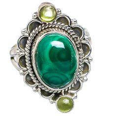 Malachite, Peridot 925 Sterling Silver Ring Size 8.5 RING706878