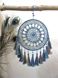 Medium Dream Catcher special 2color/natural hemp indigo von HueRain