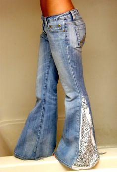 Bandana jeans...{{cute idea,I would use darker wash jeans with a blue and white bandana}}