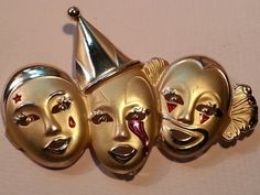 Jester Sad Clowns 3 Faces Crying Brooch Pin by Snowyowltreasures