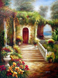 Villa Entrance in Bloom - Original Oil Painting Artist: Unknown Size: 48 High x 36 Wide Canvas Hand-painted, original oil painting on unstretched canvas. Garden Painting, House Painting, Artist Painting, Painting & Drawing, Landscape Art, Landscape Paintings, Dream Pictures, Heart Wall Art, Illustrations