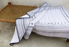 Aztec quilted bedspread black and white cotton quilt by VLiving
