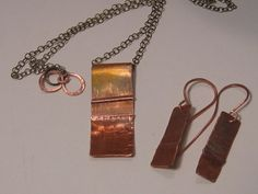 Handmade Fire Painted Copper Necklace and by artintheredwoods, $52.00