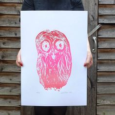 Oh, What a lovely OWL in shades of pink. From a soft pink to a metallic pink as if little OWL had just dived in a pink bath! Each print of th. Pink Baths, Little Owl, Metallic Pink, Screen Printing, Athena Goddess, Color Pop, Colour, Different Shades Of Pink, Bubble Envelopes