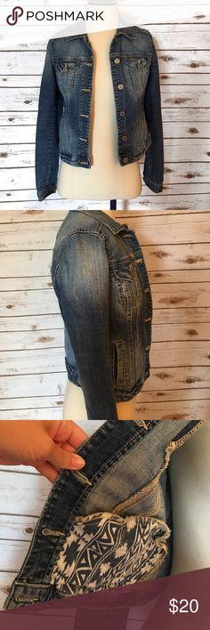 Lightly Distressed Jean Jacket Gently worn, still has a lot of life left in it! Garage Jackets & Coats Jean Jackets