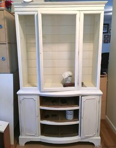 Goodwill antique china cabinet makeover with Chalk Paint and shiplap for a fresh farmhouse look - DIY tutorial by Girl in the Garage Refinished China Cabinet, China Cabinet Decor, Repurposed China Cabinet, Farmhouse China Cabinet, Antique China Cabinets, Painted China Cabinets, Diy Cabinet Doors, Painted Hutch, Repurposed Wood
