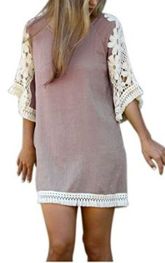 eshion Women Casual 3/4 Sleeve Lace Women T-shirt Dress With Tassels: Amazon Fashion