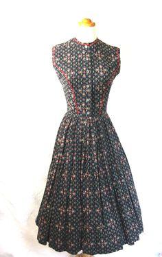 Black calico cotton Lanz dress, early 50s