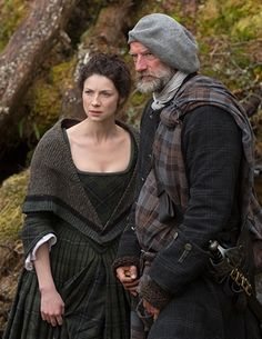 "Caitriona Balfe as Claire Randall and Graham McTavish in Episode 105 ""Rent"" from Outlander on Starz"