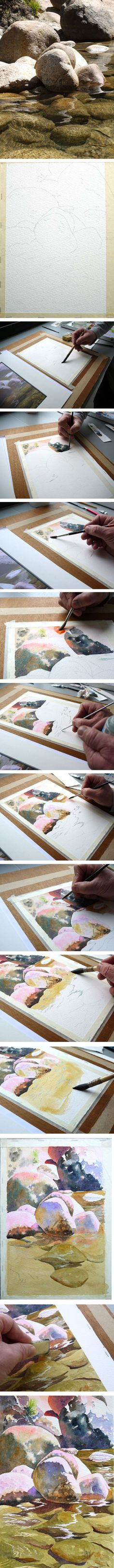 Step by step - Watercolor Yosemite park river