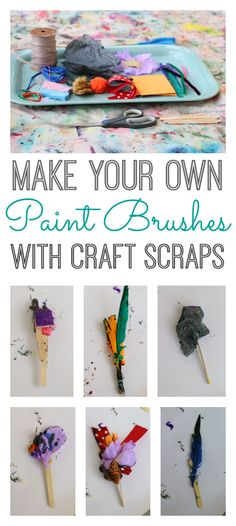 Cool homemade paintbrushes made with craft scraps.