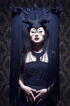 darkly surrealistic hat with horns and fringe Avant Garde Hair, Gothic, Circlet, Costume Makeup, Headgear, Headdress, Masquerade, Fascinator, Halloween Face Makeup