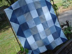 Quilt Denim Patchwork Throw, Upcycled with Spiderman backing, Warm & Fun