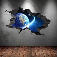 SPACE PLANETS UNIVERSE GALAXY WORLD CRACKED 3D - WALL ART STICKER BOYS DECAL MURAL NEW8, http://www.amazon.com/dp/B015AQYQYE/ref=cm_sw_r_pi_awdm_QkPAxbPY8RCT2