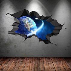 SPACE PLANETS UNIVERSE GALAXY WORLD CRACKED 3D - WALL ART STICKER BOYS DECAL MURAL NEW8, http://www.amazon.com/dp/B015AQYQYE/ref=cm_sw_r_pi_awdm_QkPAxbPY8RCT2