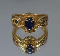 Blue Sapphire Engagement Ring // 18K Gold Alternative by lagnole, $825.00