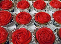 cupcake towers for a wedding red | Cupcake Tower With Red Roses Wedding Reception Food