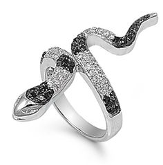 Micro Pave Black White Snake Ring Solid 925 by BlueAppleJewelry