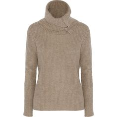 Autumn Cashmere Ribbed-knit turtleneck sweater (€175) ❤ liked on Polyvore featuring tops, sweaters, shirts, blouses, nude, turtleneck shirt, embellished shirt, embellished sweater, button shirt and button sweater