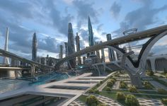 3D central business district city architecture Landscape Concept, City Landscape, Fantasy Landscape, Chinese Architecture, City Architecture, Futuristic Architecture, Cyberpunk City, Futuristic City, Sci Fi Anime